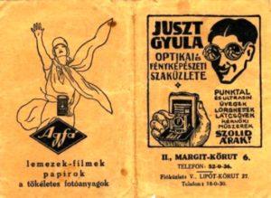 Korabeli reklám plakát a Juszt Optikától
